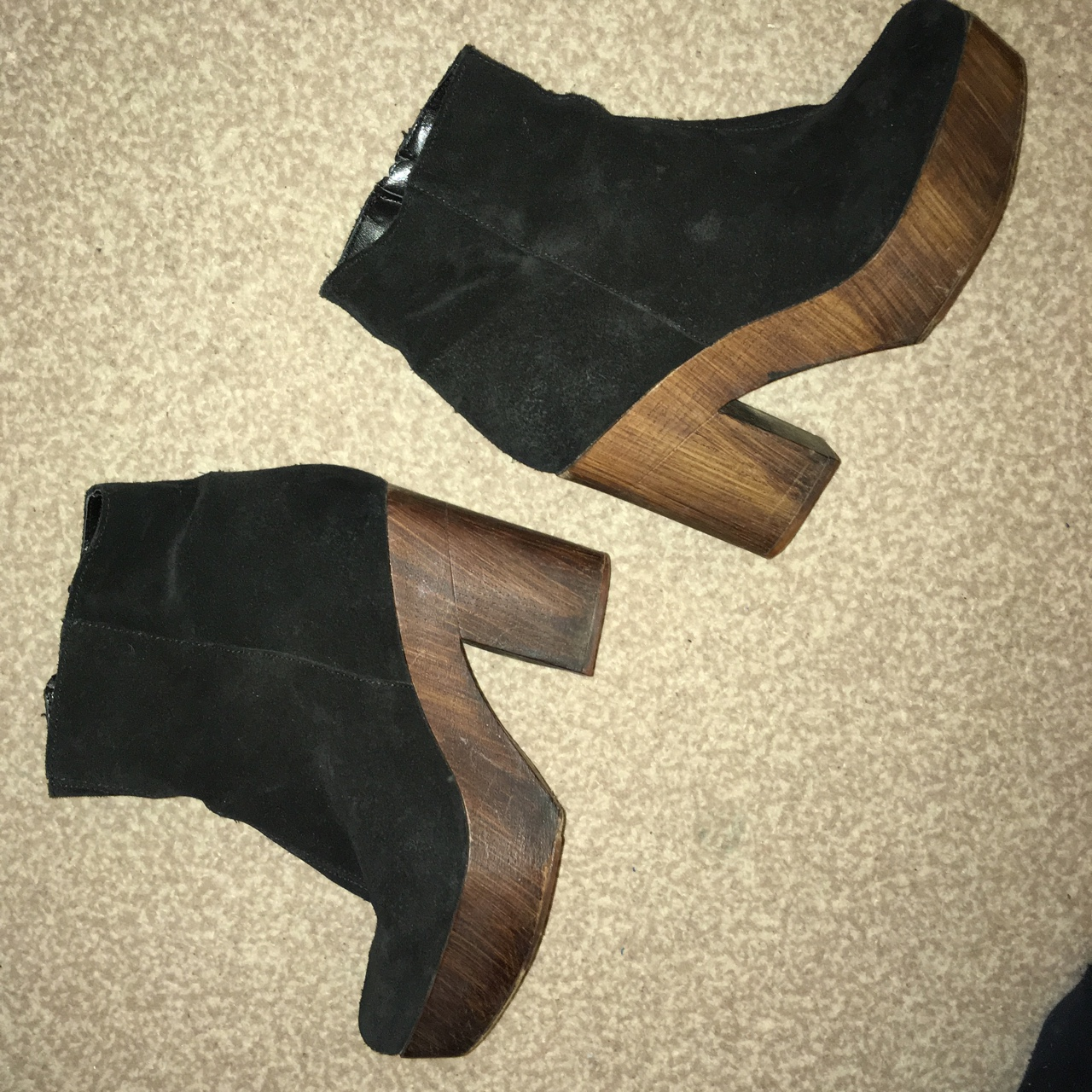 927d45da005 Topshop platform heel boot. Black suede with wooden... - Depop