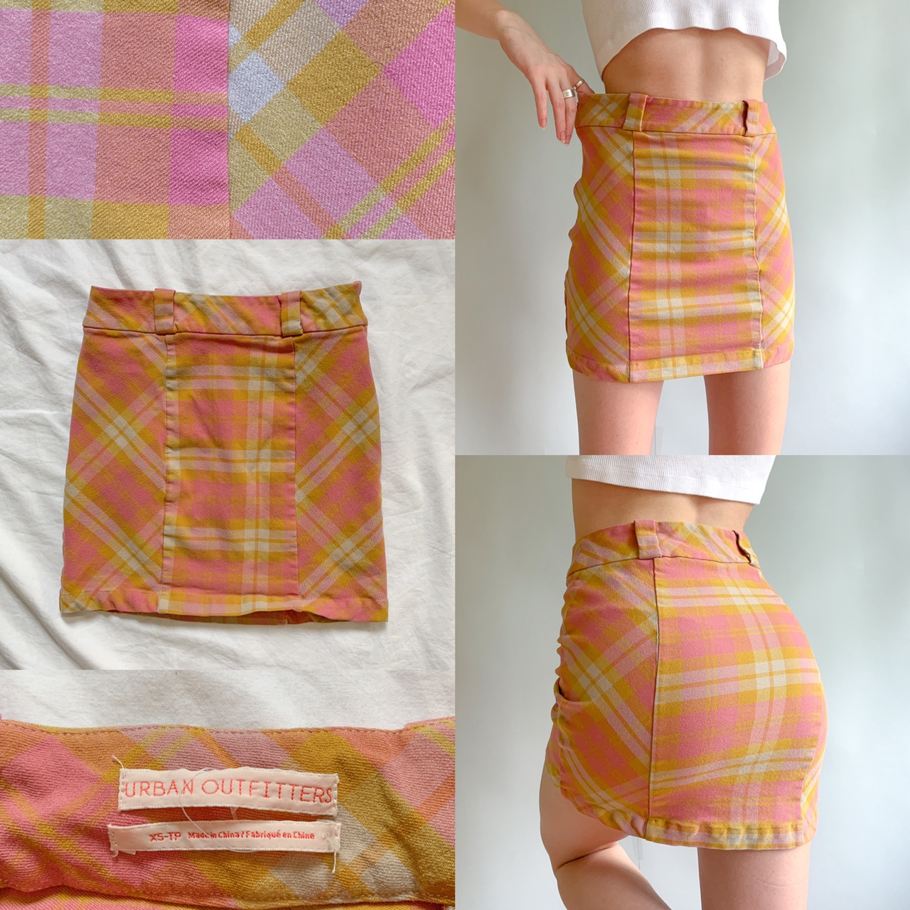 Urban Outfitters - Pink + Yellow Mini Skirt ✨