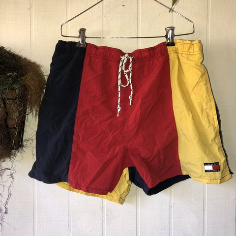 87d915fb41bcf @moldyrags. FollowingFollow. 5 days ago. Lafayette, United States. Tommy  Hilfiger vintage 90's men's colorblock swim trunks