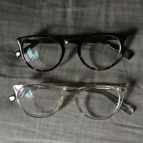 c6d271e811f57 Warby Parker Haskell frames. The clear ones are Brown ones - Depop
