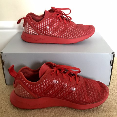 788f5f0a1b405 Adidas ZX flux triple red shoes. UK size 5