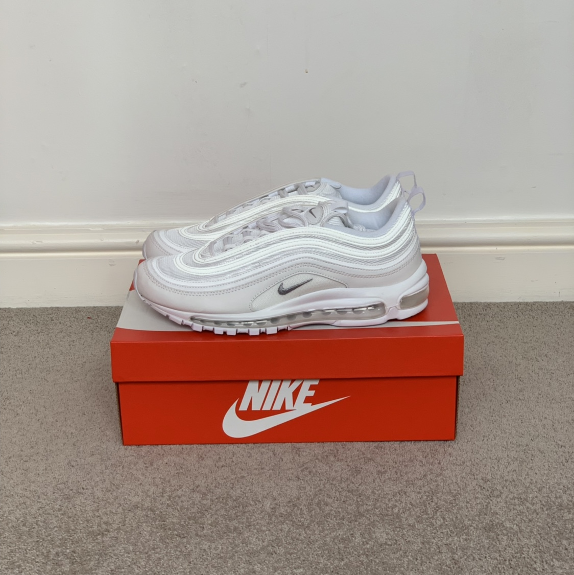 Nike Air Max 97 'Triple White' Brand new, DS never Depop