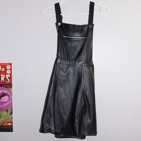 2481f8d5008 Black leather skirt overalls. These are such a steal. These - Depop