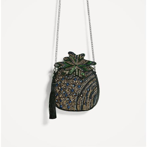 b0bee1c117f @blondiehannah. last year. Sheffield, United Kingdom. Zara pineapple bag  stunning hand embellished bag with chain strap, never used ...
