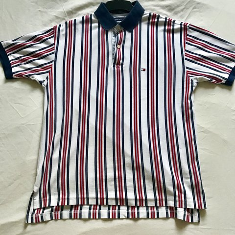 a3def0db1842 @twilliams17. last year. Ashford, United Kingdom. Men's Tommy Hilfiger  vertical stripe polo shirt