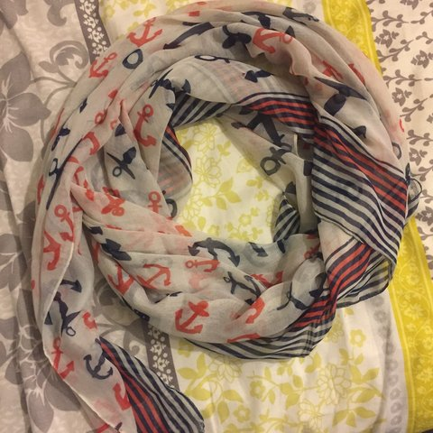 ca18cb61d0e6 Another fun nautical print scarf in navy, orange and white. - Depop