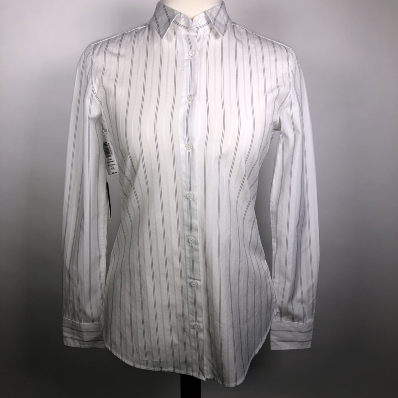 8153567723841 Aritzia Dress Shirt White with blue