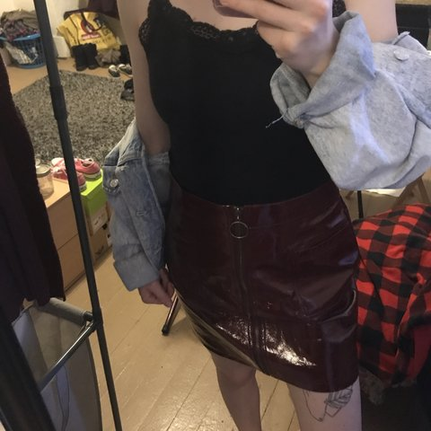 714f1c47c0 💘 Red faux leather skirt with circle pull zipper, good $5 a - Depop