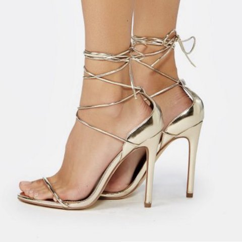 3adf59cc5e5b JustFab gold lace up heels