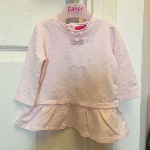 98977637f Ted baker baby girl dress top. Pink with gold dots. Size 3-6 - Depop