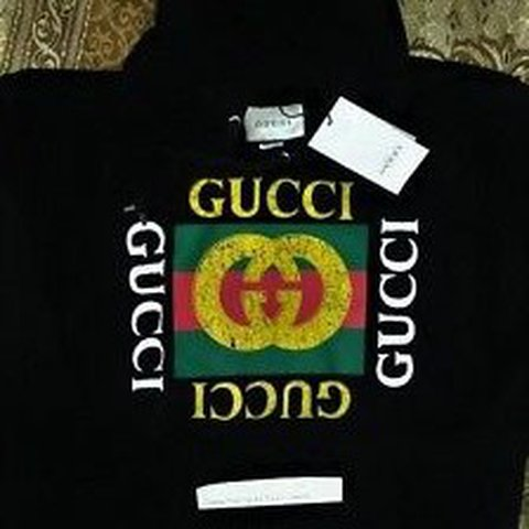 26474704621 Gucci Logo Hoodie Color  Black Size   Medium Brand New With - Depop