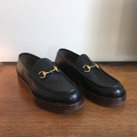 5e78e24d7774 Gucci Shaded Leather Platform Horsebit Loafer No box They - Depop