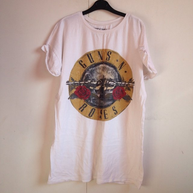 White Guns N Roses Longline Band T Shirt From Primark With Depop