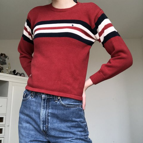 4df72e15f ༶ red polo ralph lauren knit sweater with red white blue   - Depop