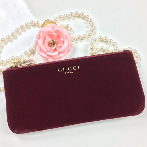 7f54f2a47c2d @magicglam. 10 months ago. Frisco, United States. Gucci Beauty Velvet  Burgundy Red cosmetic bag