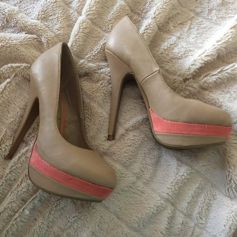 017256be384 Nude faux- leather platform heels with suede coral stripe. 3 - Depop