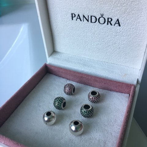 133c64928 6 genuine pandora charms -pink and green £10 each -silver - Depop