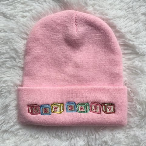 d55c1ebcd2b CRYBABY BEANIE Where my crybabies at 😭😭😭 Pastel pink - Depop