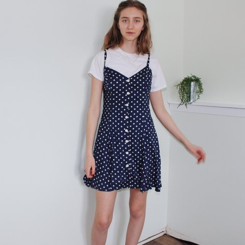 3aacf01ca36 ⋆ Vintage 80s navy blue and white polka dot dress ⋆ in at - Depop