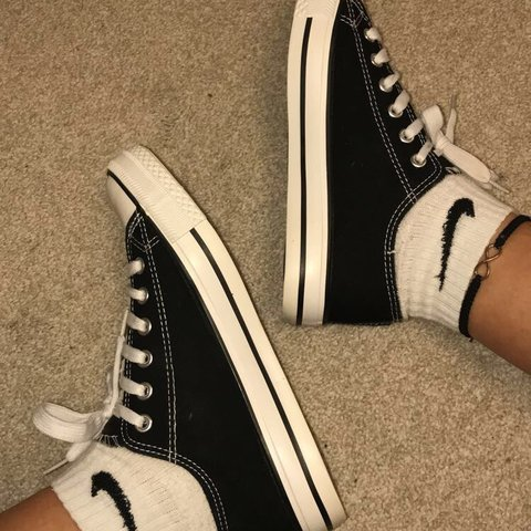 f694c9ae4d2 Never worn primark converse  vans style shoe👠 Black and and - Depop