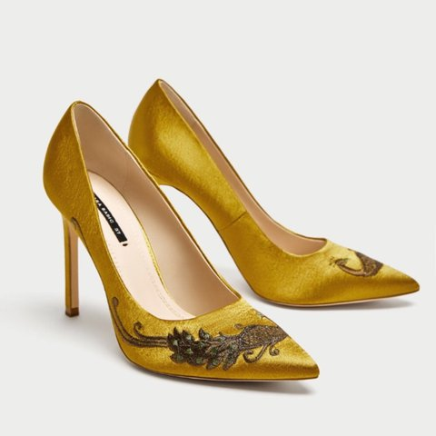 e3a56e6e9a On Zara High Yellow In Satin Heel Shoes Featuring Brand Depop New OZiPkTXu