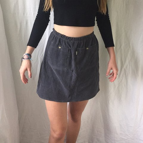 38a3843f49 Vintage reconstructed Corduroy skirt in a grey colour, not a - Depop