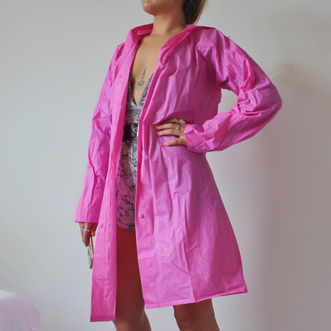 selected material world-wide selection of unique design Bright pink festival raincoat anyone going to... - Depop