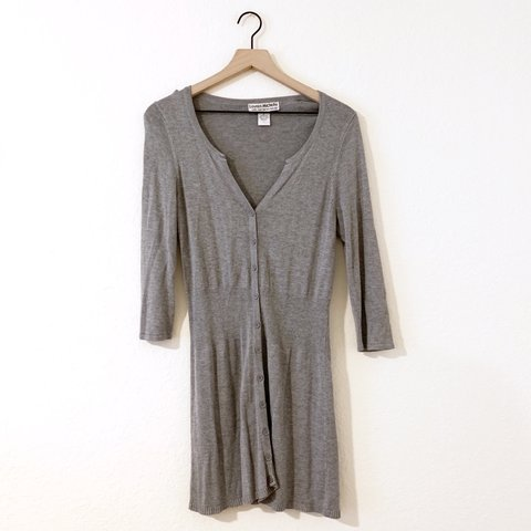 023b1c5617d grey button up cardigan dress. versatile item