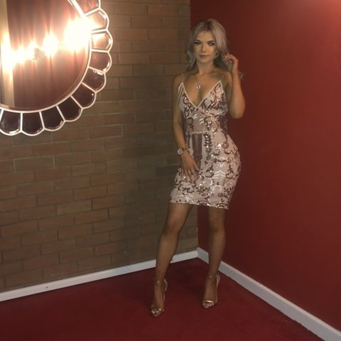 e307a5a68a24 @xo_alh98. 4 months ago. Stafford, United Kingdom. Rose gold sequin  embellished mini dress from Pretty Little Thing.