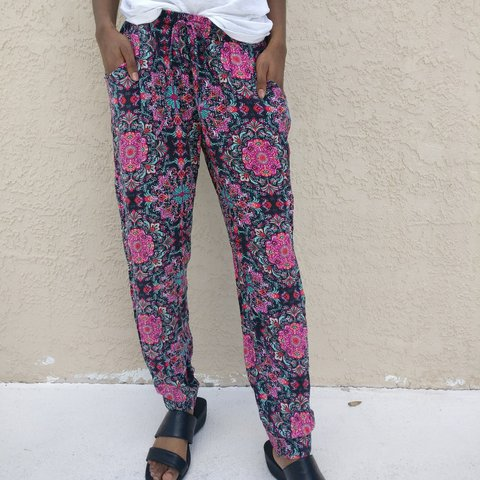 High Waisted Patterned Flowy Pants They Have A Beautiful Depop Inspiration Patterned Flowy Pants