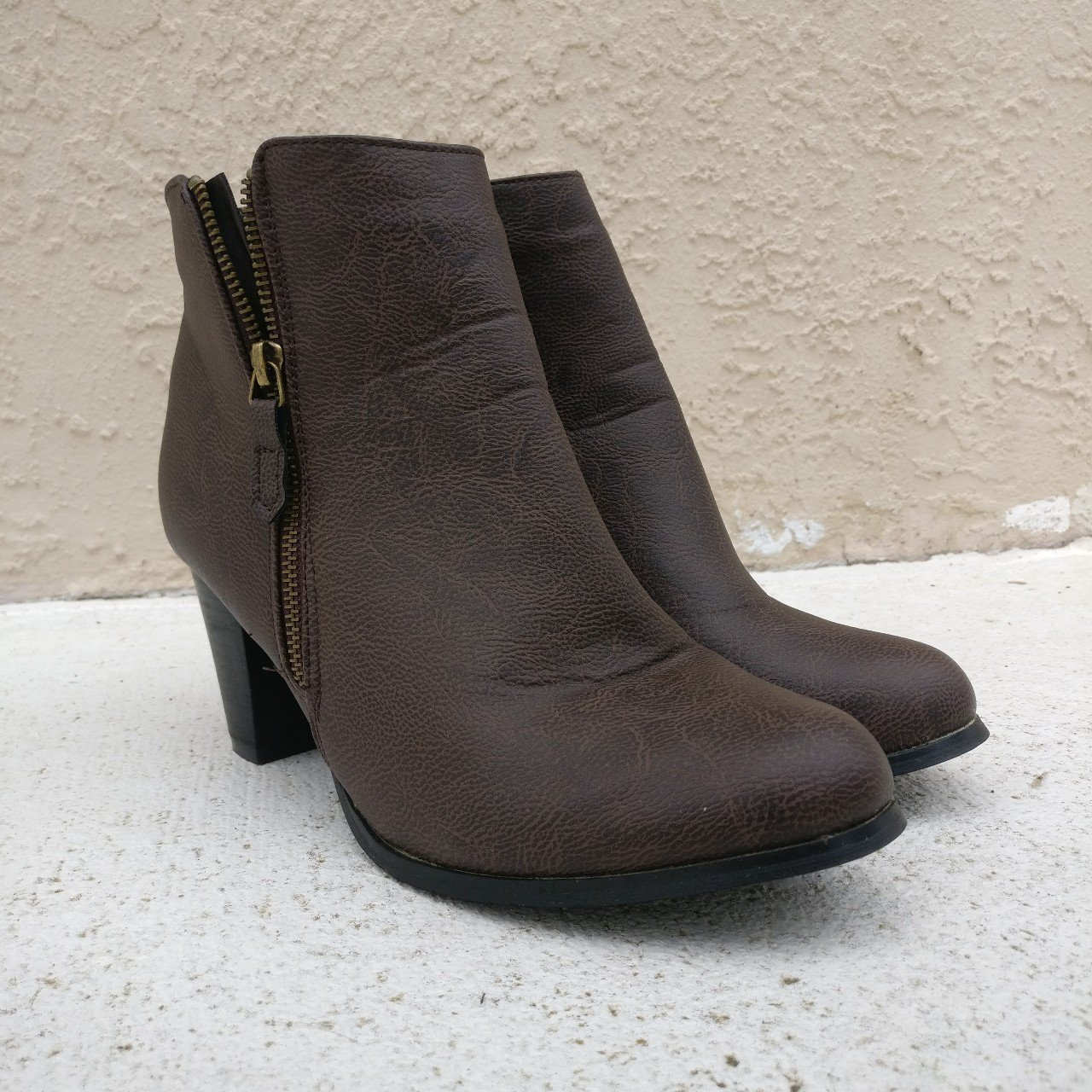 c6b5c969644c2 brown faux leather booties