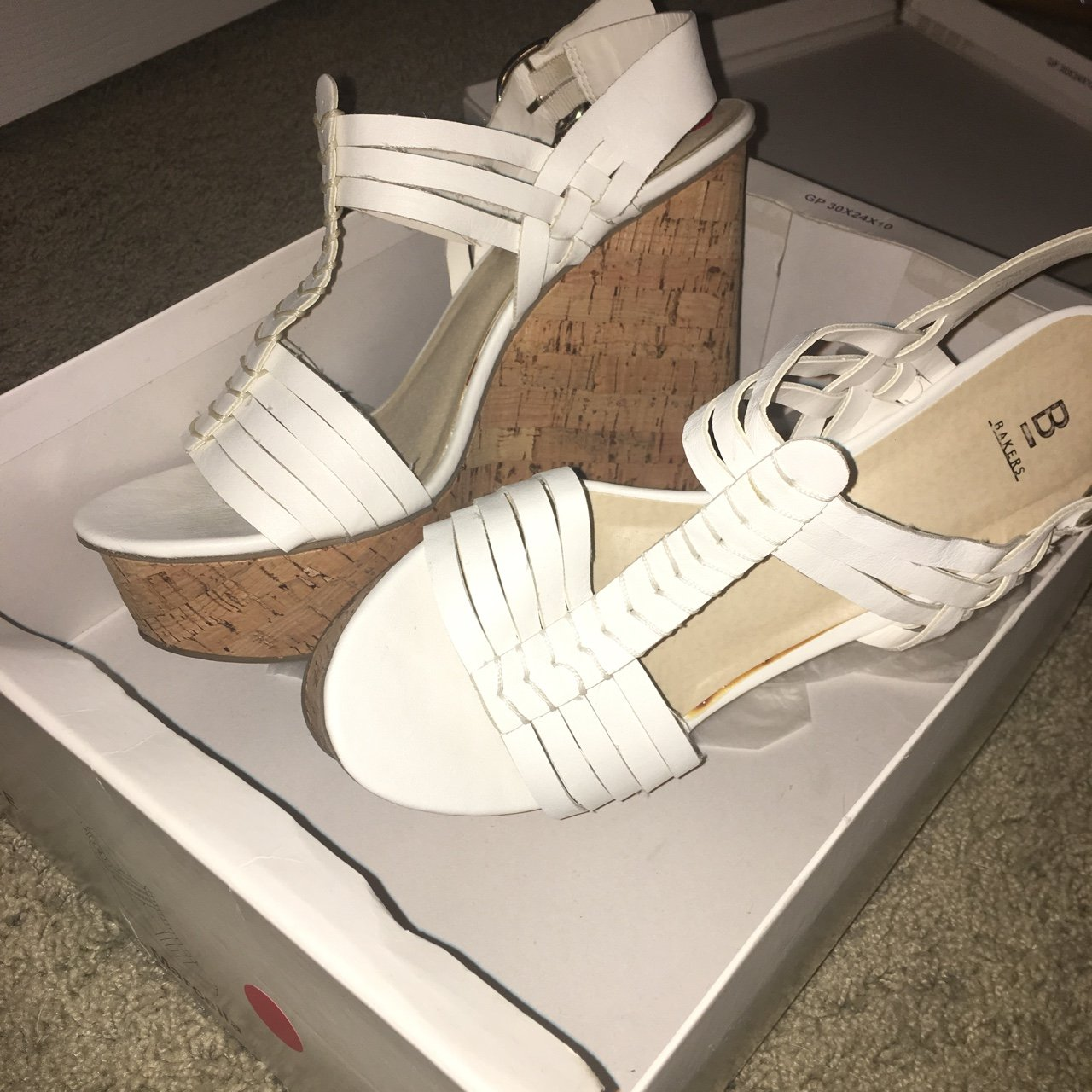 5f36a88a567d bakers white marlene cork heels wedges •size.  38. GET YOUR DOCS FOR ONLY