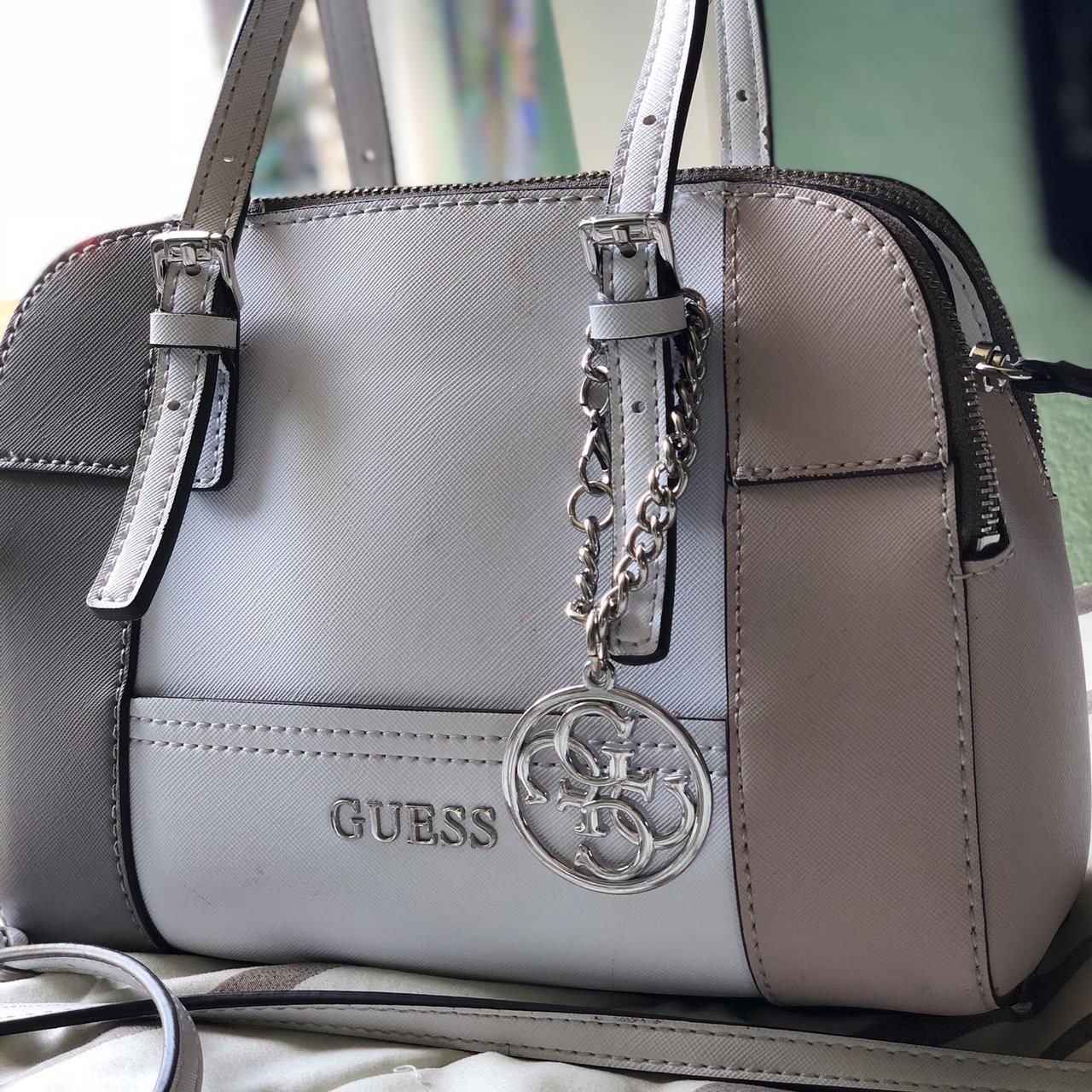 GUESS purse with pastel grey color and pastel brownish pink - Depop a5026ea26f894