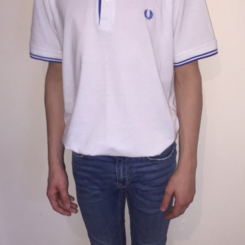 94282914c9 White and blue striped Fred Perry polo shirt . Very retro