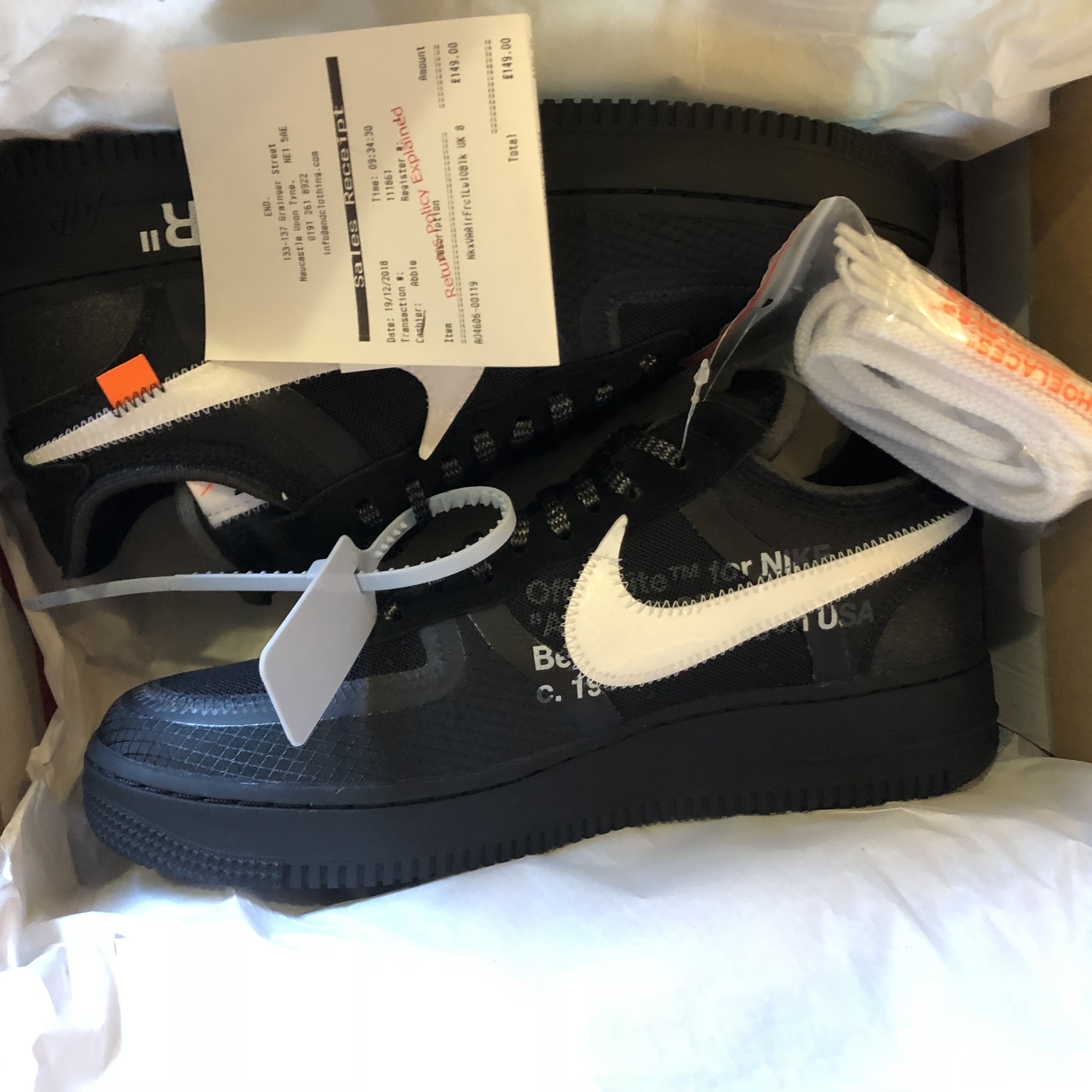 Black off white Air Force 1 Deadstock