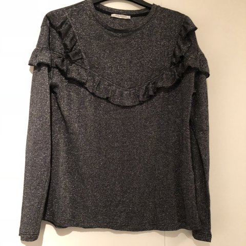 bee30c4ae018 @dknight9. 5 months ago. Dundee, United Kingdom. Zara black / grey glitter  long sleeved top with ruffle ...