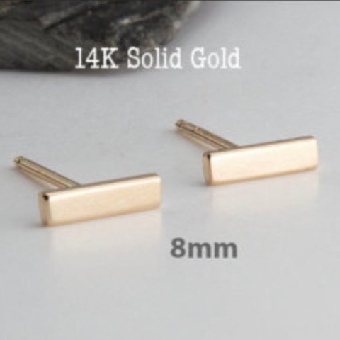 4b9c2cee4 14K Solid Yellow Gold Plain T Bar Push Back Stud Earrings - Depop