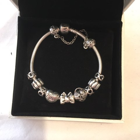 81c1f83e5 Pandora Bracelet with charms, barely worn, good sell charms - Depop