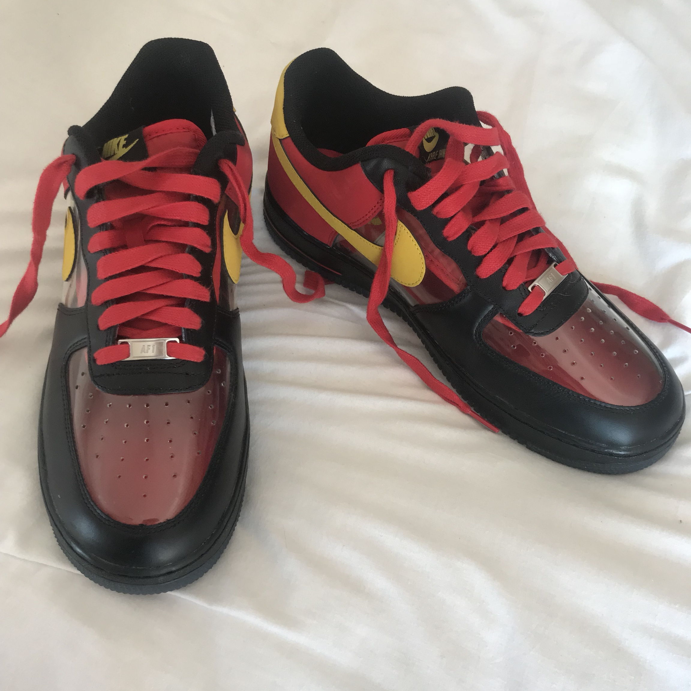 buy popular 1f6f2 6bf84 NIKE AIR FORCE ONE, KYRIE IRVING. Red and Yellow Air... - Depop