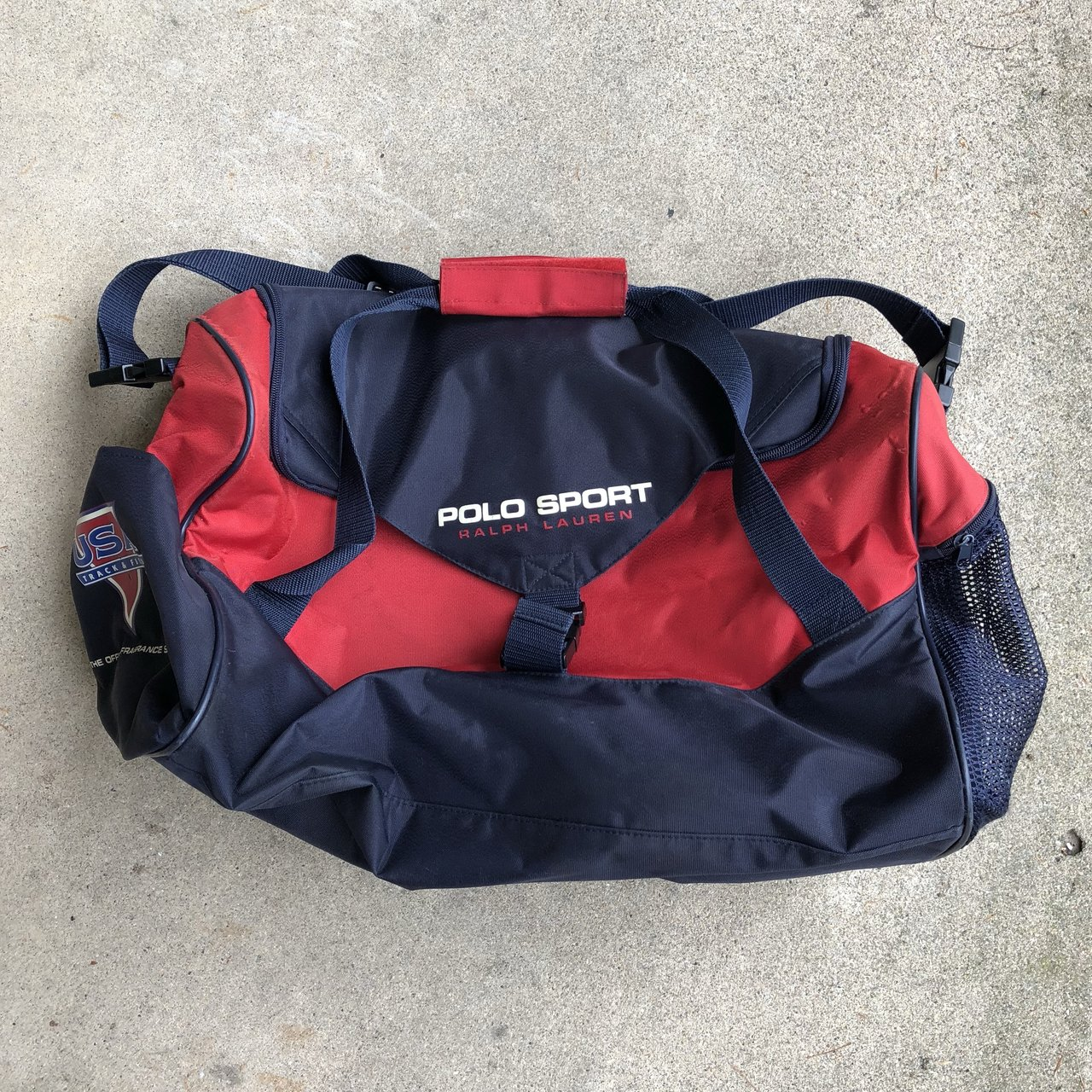 f327244978a9 Vintage 90s polo sport Ralph Lauren duffel bag USA track and - Depop