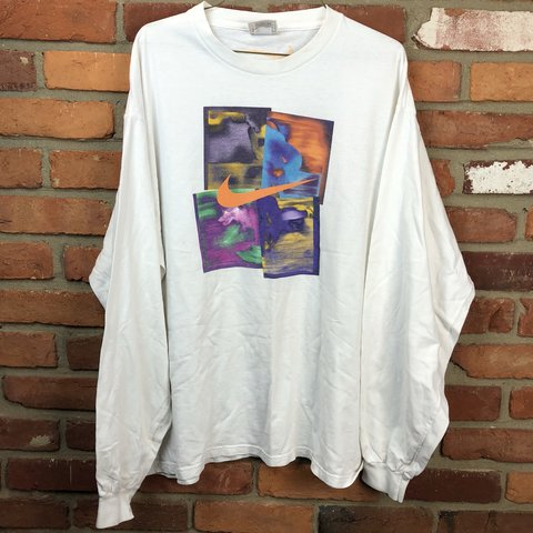 20d2ba2b Vintage 90s Nike long sleeve pop colored shirt with swoosh ! - Depop