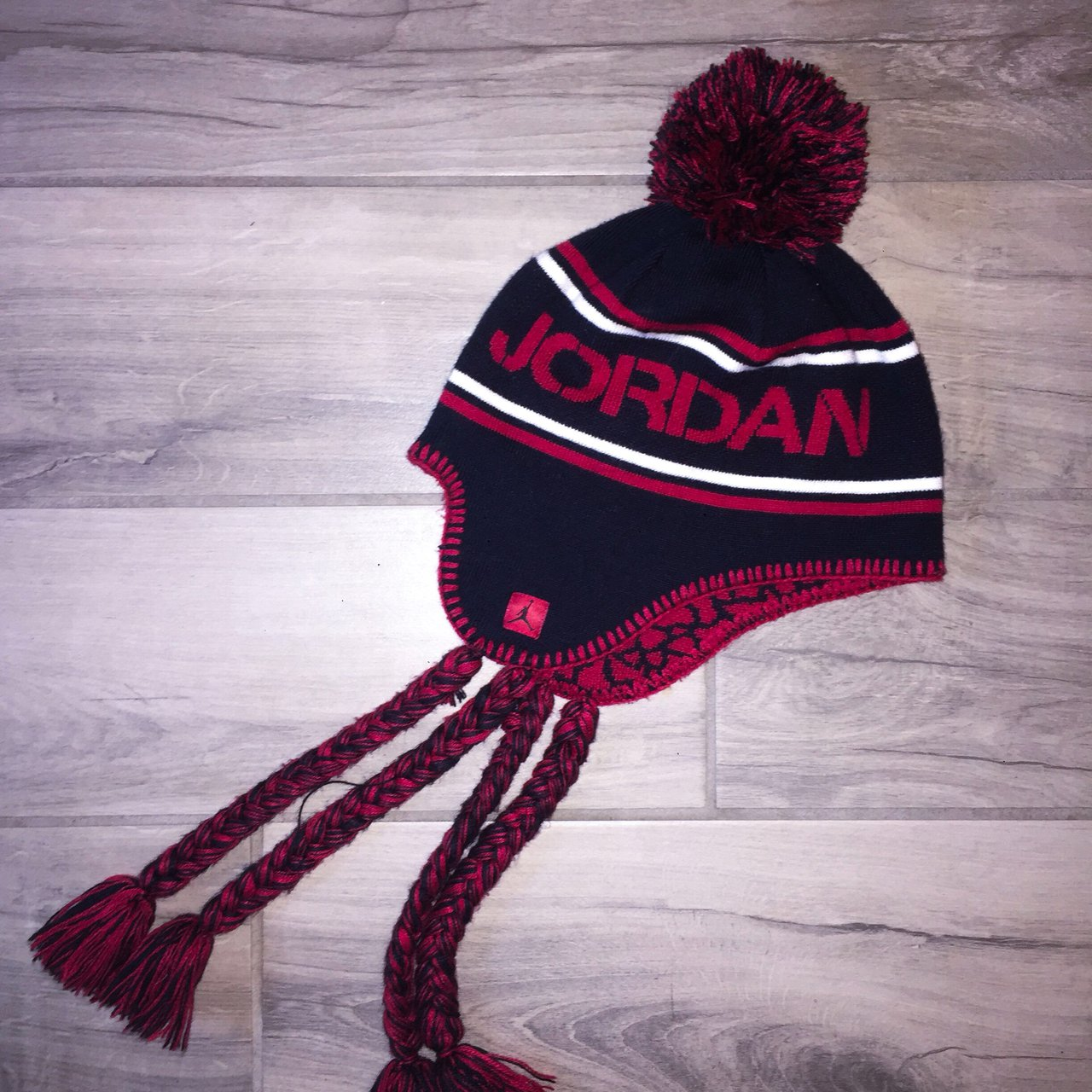 Micheal Jordan black red and white beanie hat. This hat is - Depop 74b95718e5f