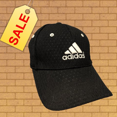 6adb75a52083eb Hat for Dre⚡ Black sporty adidas hat with white logo on but - Depop