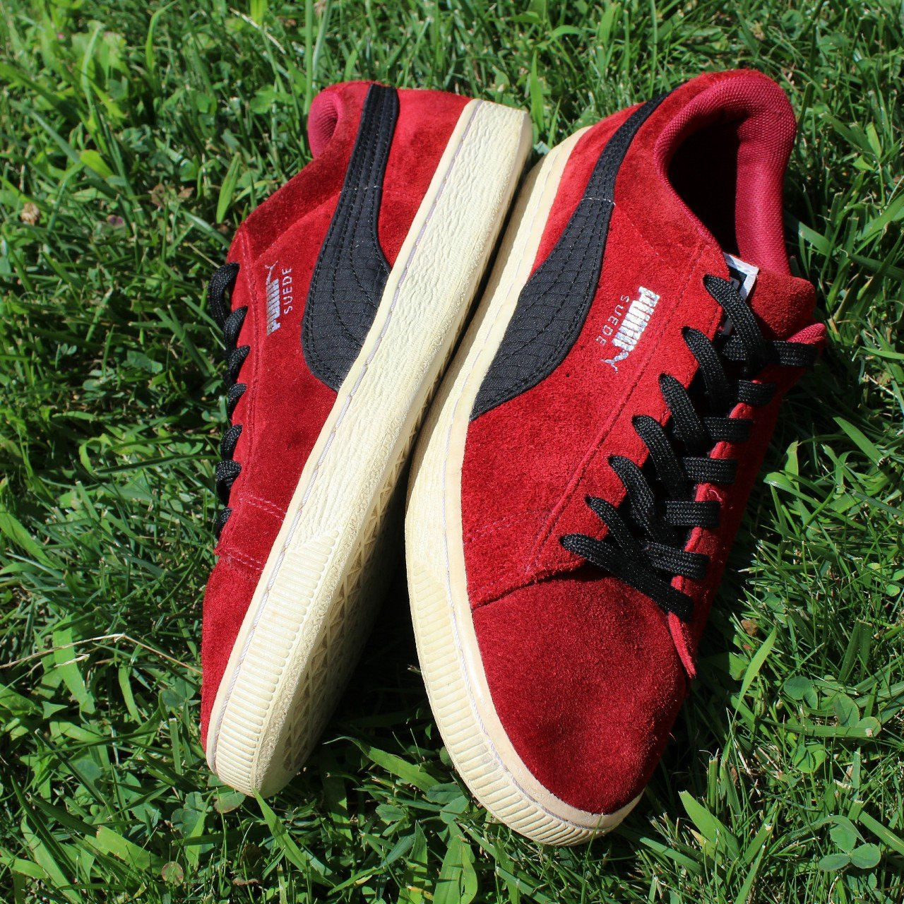 015503b1c621 Red suede Puma shoes Womens 10.5 kinda beat  puma  red - Depop