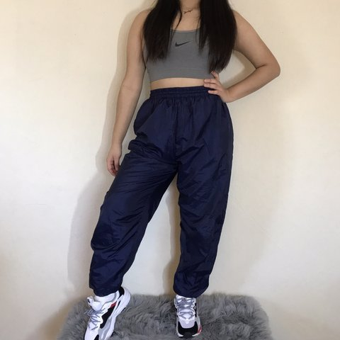 e58e410a082d @jocys_shop. 4 months ago. Antioch, United States. Vintage 90's navy blue windbreaker  pants😍 Fit highwaisted ...