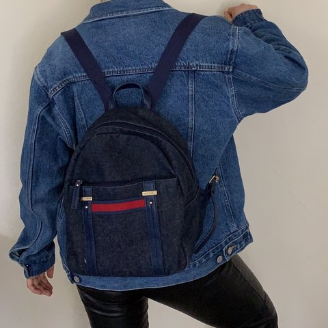 3f504af67ad @jocys_shop. 2 months ago. Antioch, United States. Denim Tommy Hilfiger  mini backpack🤩🤩