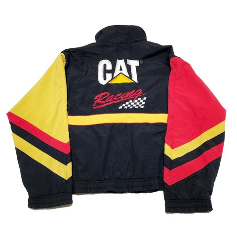 a02f47bd24 VINTAGE NASCAR 90 s CAT RACING FULL ZIP JACKET JACKET. SIZE - Depop
