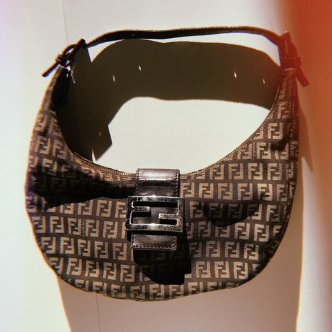 9553d58767  ajutorvintage. 4 months ago. United Kingdom. VINTAGE FENDI BROWN ZUCCHINO  MOON SHOULDER BAG 100% AUTHENTIC