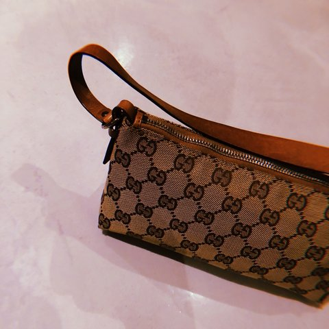 1b43f91fd076c4 @ajutorvintage. 4 months ago. United Kingdom. VINTAGE GUCCI TAN MONOGRAM  POCHETTE BAG 100% AUTHENTIC