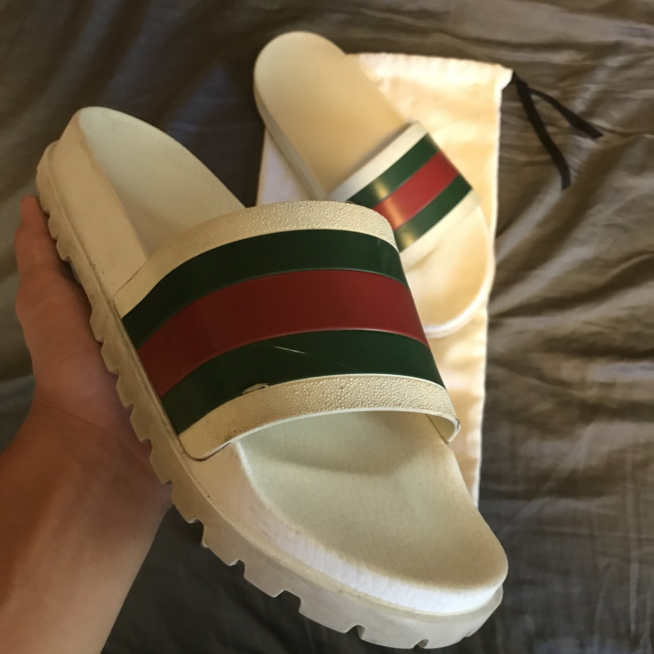 57abdd1b1168ad Gucci Slides. Size 11. Fits 10.5-11 in mens. Signs of wear - Depop